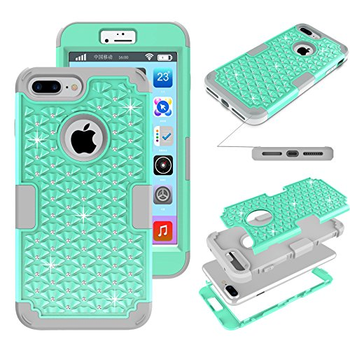 iPhone 7 Plus Glitter Case, Kecko Shockproof Slim Fit Rhinestone Bling Crystal Hybrid Armor Drop Protection Tough Rugged Case Impact Resistant Cover for iPhone 7 Plus (Mint Green)
