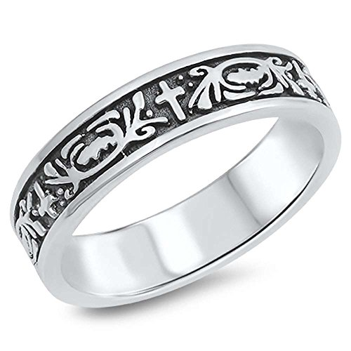 Plain Cross Purity Design .925 Sterling Silver Ring Sizes 10 ()