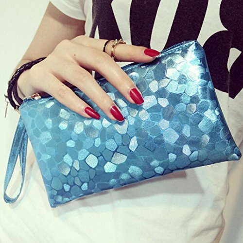 Bags Texture Fashion Paymenow Clutch Key Zipper Change Zero Phone Stone Coins Wallet Purse Lively Blue Women 6qwRX
