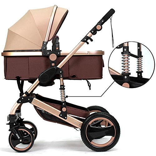 - Belecoo™ Luxury Newborn Baby Foldable Anti-shock High View Carriage Infant Stroller Pushchair Pram(Golden)