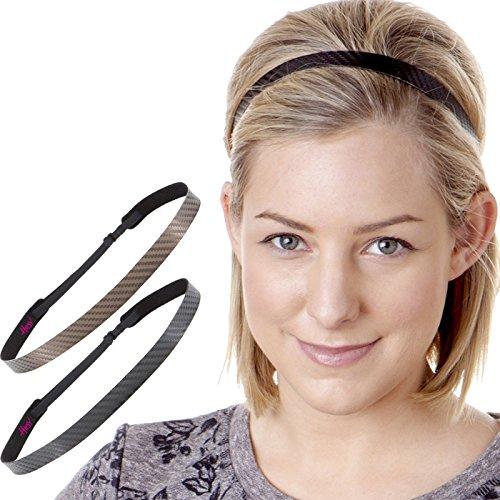 Hipsy Womens Adjustable Non Slip Cute Fashion Running Headbands Tech Hairband Gift Pack (2pk Black & Brown Tech)