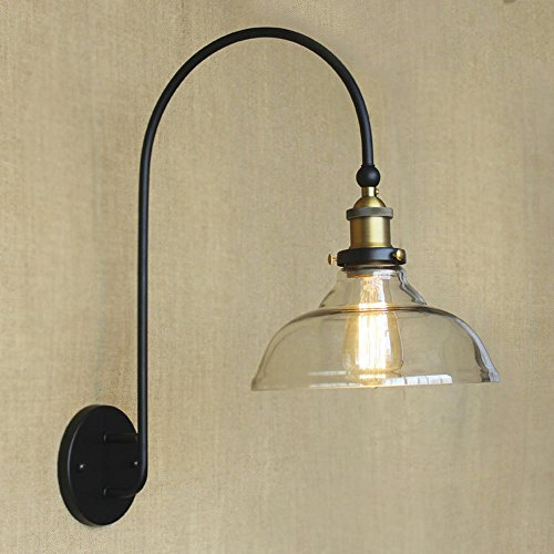 SUSUO Lighting Simple Design 1 Light Clear Glass Shade Wall Sconce Vintage Edison Wall Lamp Lighting Fixture