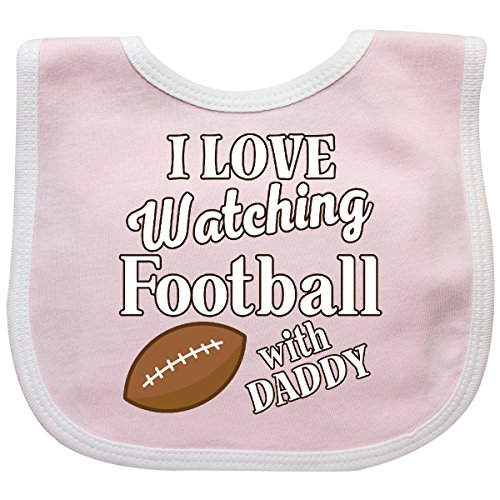 Inktastic Football with Daddy Sports Gift Baby Bib Pink/White