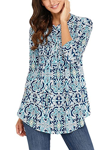 - Lovezesent Women Vintage Floral Print V Neck Tunic Tops for Jeans Ruched Detail Formal Ladies Office Blouses and Shirts for Work Blue Large