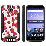 Coolpad Canvas 3636A Shock Proof Phone Case [Black/Black] |Strawberries| Ultra Defender Protective Phone Case