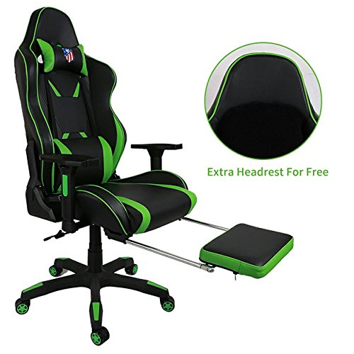Kinsal Ergonomic High-back Large Size Gaming Chair, Office Desk Chair Swivel Green PC Gaming Chair with Extra Soft Headrest, Lumbar Support and Retractible Footrest (Green)