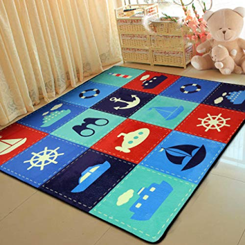 - Modern Cartoon Children Coral Fleece Carpets Kids Crawl Mat Play Mats Child Bedroom Decor Large Area Rugs