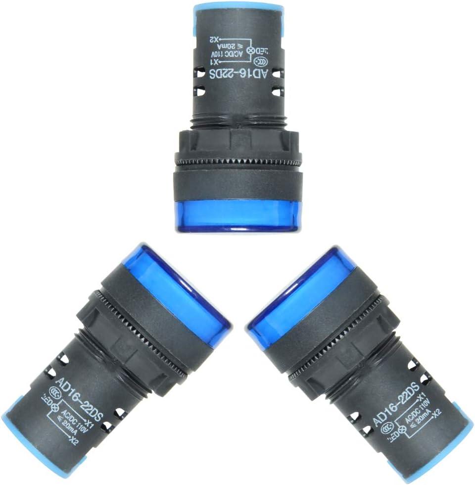 TOVOT Indicator Lights AC//DC 110V White Flush Panel Mount 7//8 22mm,AD16-22DS-5PCS Energy Saving LED Signal Lights