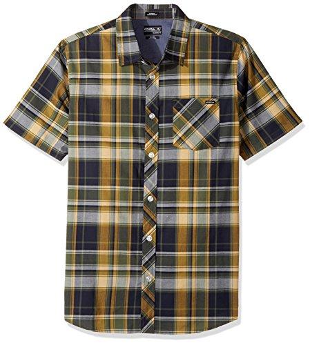 O'Neill Men's Plaid Short Sleeve Shirt, Navy, Small