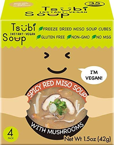 Tsubi Instant Vegan Soup, Spicy Red Miso Soup with Japanese Mushrooms, 6 Ounce Serving (Pack of 4)