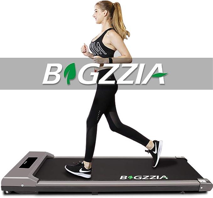 bigzzia Motorised Treadmill, Under Desk Treadmill Portable Walking Running Pad