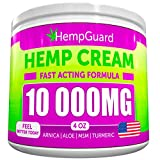 Hemp Pain Relief Cream - 10 000 MG - Made in USA - 4OZ - Relieves Muscle, Joint Pain - Lower Back Pain - Inflammation - Hemp Oil Extract with MSM - EMU Oil - Arnica - Turmeric