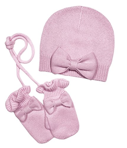 Girl's Bow Hat with mittens Cashmere Set in Pink (6-12M, Pink) by Gia John Cashmere