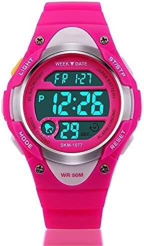 Kid Watch Outdoor Sports Kids Girls Boys Watches LED Digital Alarm Waterproof Wristwatch Pink