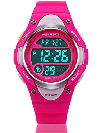 Kid Watch Outdoor Sports Kids Girls Boys Watches LED Digital Alarm Waterproof Wristwatch Pink