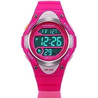watchpl Niños Reloj Deportes al aire última intervensión Niños Boy Girls LED despertador digital resistente al agua reloj de pulsera, Color Rosa