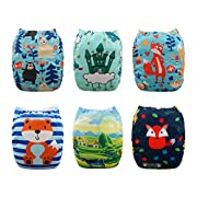 Babygoal Baby Cloth Diapers for Boys, Reusable Washable Pocket Nappy, 6pcs+6 Inserts+4pcs Bamboo Inserts,Boy color 6FB19