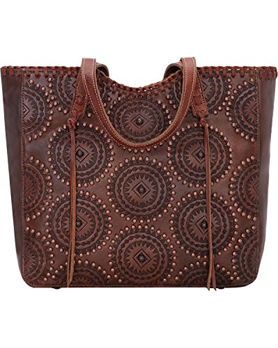 American West Women's Kachina Spirit Large Zip Top Tote Chestnut One Size by American West