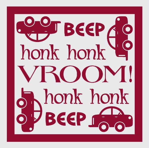 Wall Décor Plus More WDPM1459 Beep Honk Vroom Wall Vinyl Sticker with Car Decal, 12 W  x  12 H, Red ()