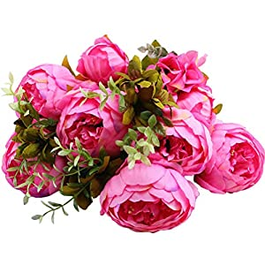 Sunlightam Artificial Peony Silk Flowers Bouquet Glorious Moral for Home Office Parties and Wedding 69