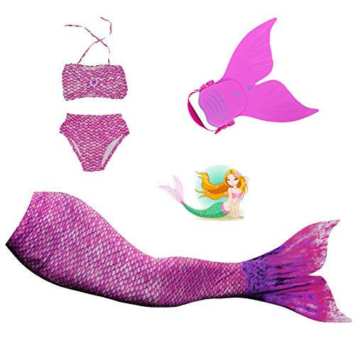 Mayskey Girls Sparkle Mermaid Tail With Monofin Swimmable Tail Swimsuit 4PCS Sets (110 (4-5Yeas), Water Purple)