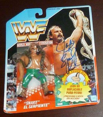 Jake The Snake Roberts Signed 1990 Hasbro Action Figure Coa Spanish Au