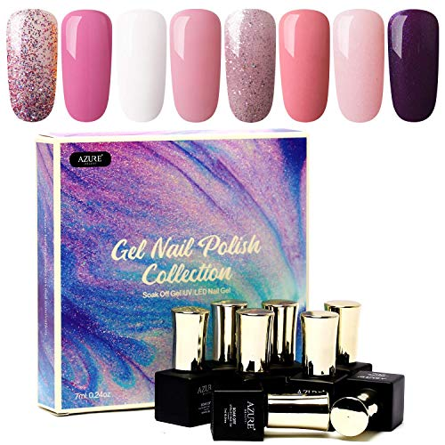 AZUREBEAUTY Gel Nail Polish Set - Pink Purple Glitter Colors Soak Off UV LED Gel Polish Kit 8 PCS 0.24 OZ