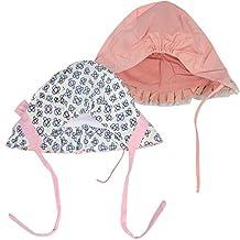 KF Baby Girls Ruffle Cap Bonnet Hat Value Pack, Set of 2, Newborn Infant Toddler