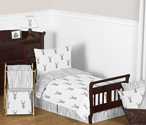 Sweet Jojo Designs Grey Wood Grain Print Toddler Bed Skirt for Grey and White Woodland Deer Kids Children's Bedding Sets by Sweet Jojo Designs (Image #2)