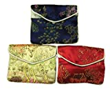 Chinese embroidered snap / zipper pouch set of 3 – assorted colors (#97), Bags Central
