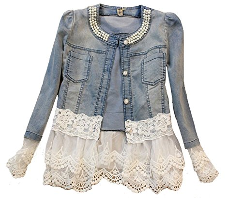 Maybest Women's Autumn Light Blue Mid Wash Tiered White Lace Mesh Applique Denim Jacket Coat Blue US 8 (Lace Blue Light Jacket)