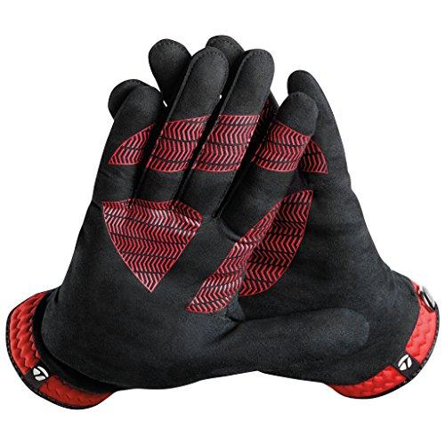 TaylorMade Rain Control Glove (Black/Red, Medium/Large), Black/Red(Medium/Large, Pair)