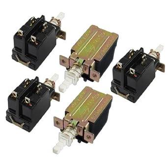 5 piezas de la CA 250V 8A 4 Pin 4P DPST enclavamiento del interruptor del empuje