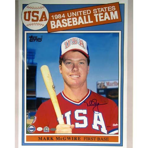 Sports Mark Mcgwire Hand Signed (Steiner Sports MLB Saint Louis Cardinals Mark McGwire 1984 Topps USA Baseball Card (16 x 20-inch))