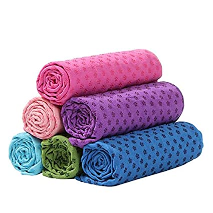 Amazon.com : Finlon Yoga Mat Towel Non Slip Yoga Mat Cover ...