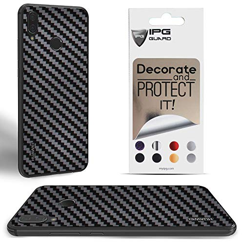 IPG for Huawei P20 Lite Decorative Carbon Fiber Vinyl Back Protector Anti Scratch Skin Guard - 3D Surface - Bubble -Free Easy to Install (Black Carbon Fiber)