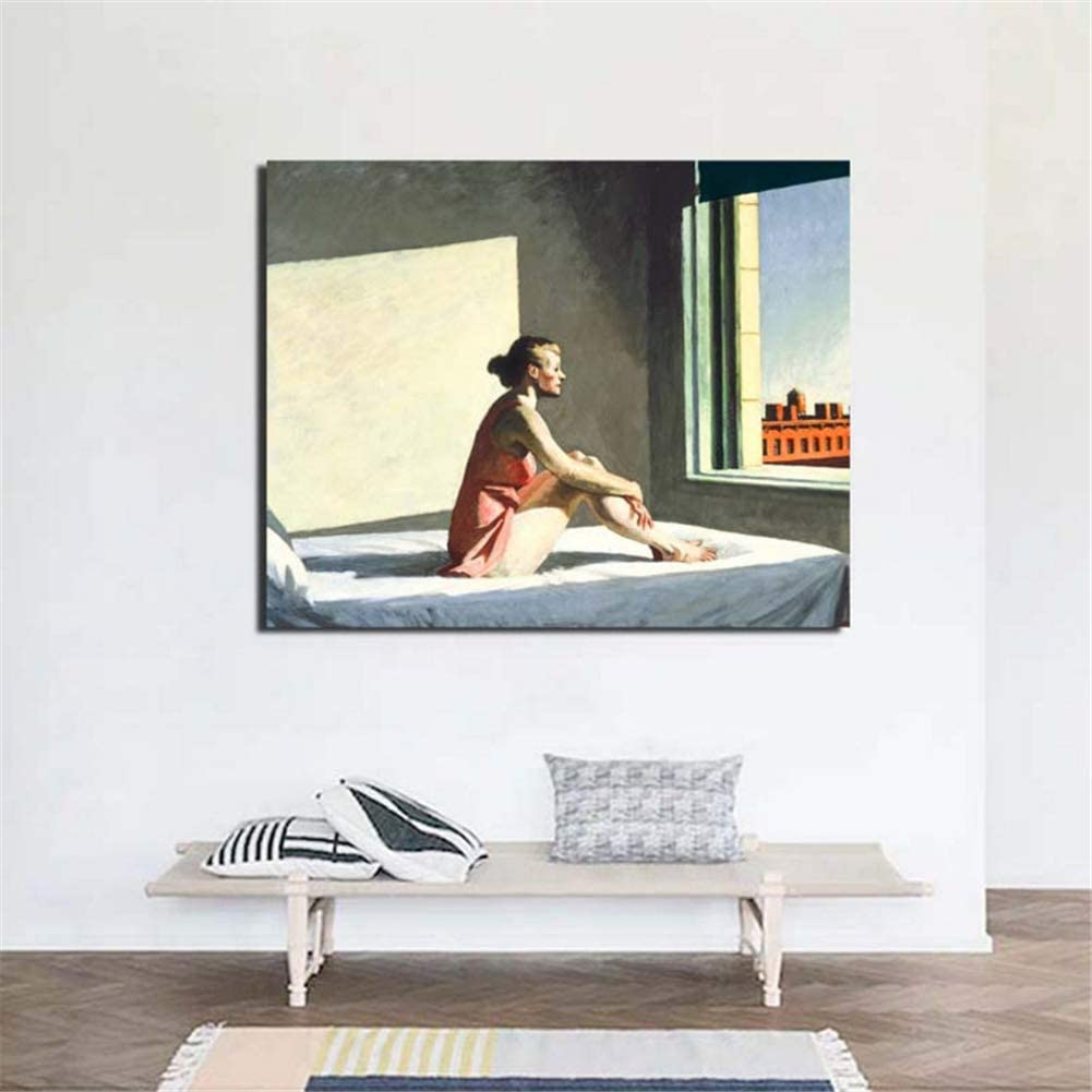 Edward Hopper Morning Sun Canvas Painting Living Room Home Decoration Artwork Modern Wall Art Posters Picture 50x70cm sin Marco