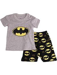 Gray Bat Boys Shorts 2 Piece Pajama Set 100% Cotton G6057,Size 6Mos-14Yrs