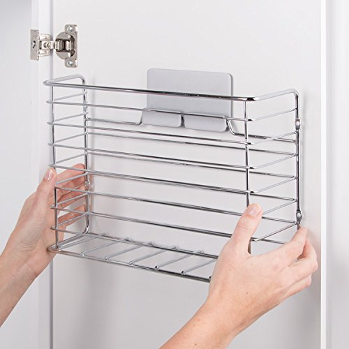 Perfect for Storing Kitchen Accessories Like Cling Film and Tin Foil mDesign AFFIX Kitchen Wrap Holder Self-Adhesive Steel Kitchen Organiser Basket for Kitchen Essentials Chrome