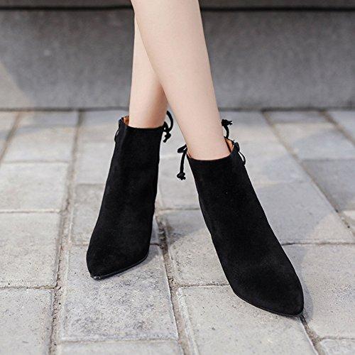 Aisun Damen Elegant Spitz Zehen Blockabsatz Schnürung Schliefe Kurzschaft Stiefel Mit Reißverschluss Schwarz