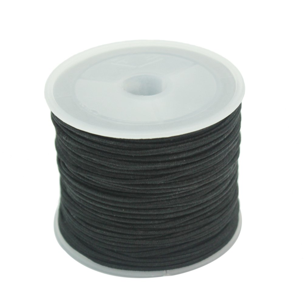 1 Roll 1mm Elastic String Thread Cord Wire For Bracelet Jewelry Beads Making (Black) Pinzhi SPQLUF1193