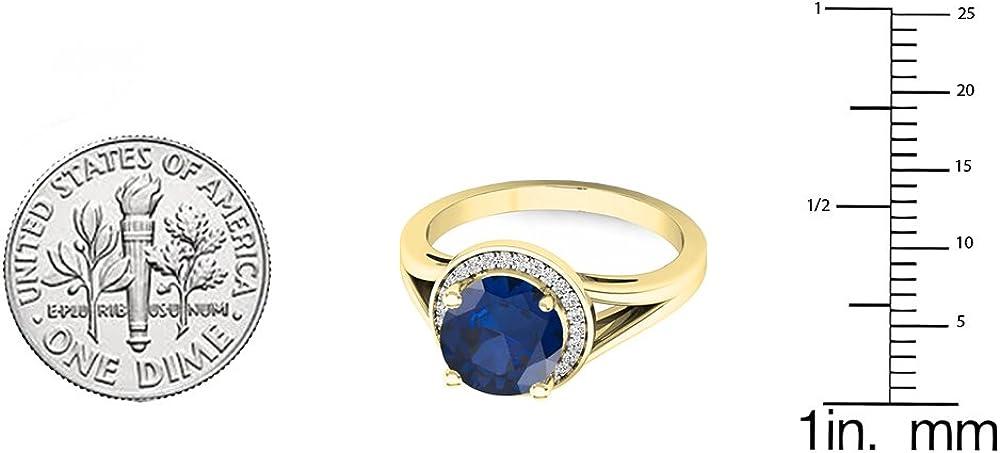 Yellow Gold Dazzlingrock Collection 10K 7 MM Round Lab Created Gemstone /& White Diamond Halo Bridal Engagement Ring