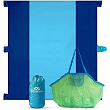 Oversized Beach Blanket / Mat & Kids Mesh Sand Free Toy Tote Bag. Sand Proof, Quick Drying, Sand Anchor Pockets. Large 10' x 9', Lightweight, fits in Compact Sack. Perfect for Outdoor Family Picnics.