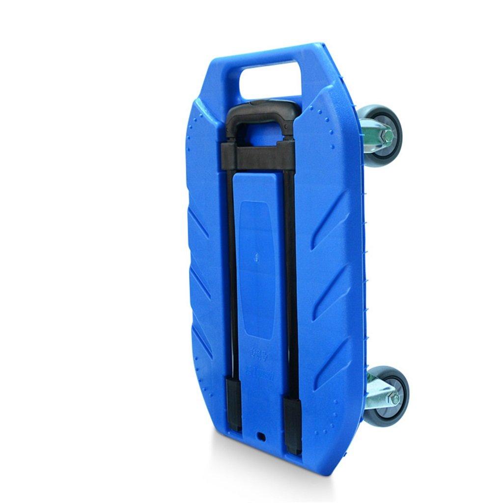 ショッピングカート フラットベッドカート家庭用ハンドトロリーロード王トロリー荷物カートポータブルトレーラーフォードトラックハンドトラック (色 : Blue) B07FL19XTN Blue Blue