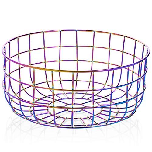 Wire Kitchen Fruit Basket, Iridescent Rainbow Bowl for Countertops, Display, Storage, Bread Basket, Organization for Snacks, Fruits, Vegetables, Decorative Serving, Modern Vintage Decor (Kitchen Pride)
