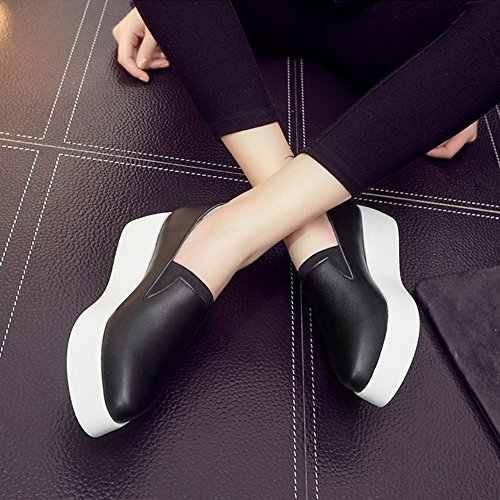 Mid Heel Contrasting Sneakers Aisun Toe Color Women's Round Platform Slip Black Comfy On qE6Czw6v