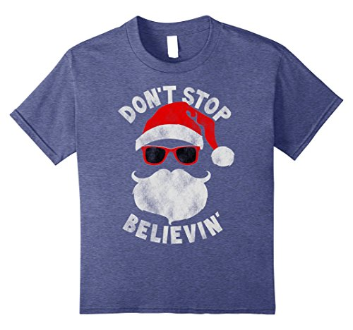 - Kids Don't Stop Believing Cool Shades Santa Christmas T-Shirt 12 Heather Blue