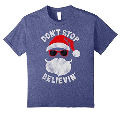 Kids Don't Stop Believing Cool Shades Santa Christmas T-Shirt 12 Heather (Santa Youth T-shirt)