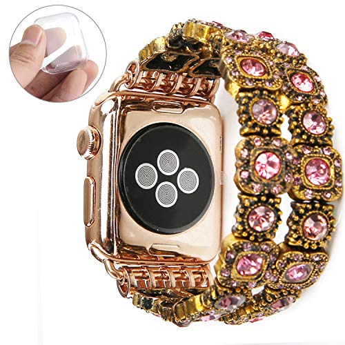 GEMEK Retro Bracelet Compatible with Apple Watch Band Rose Gold 42mm 44mm, Elastic Stretch Faux Crystal Agate Straps Replacement Compatible with iWatch Women Wristbands Series 4/3/2/1 Cuff (Pink) ()