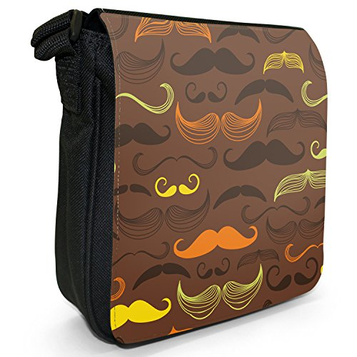 Canvas Shoulder Vintage Mustache Moustaches Hipster Size Bag Black Trendy Retro Small xUAYXn